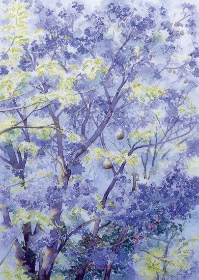 Small Jacaranda Tattoo: Jacaranda Tree - Watercolour By Dorothy Pavey