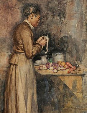 Alfred Kappes (1850–1894), In the Kitchen, 1884 (detail), watercolor on paper