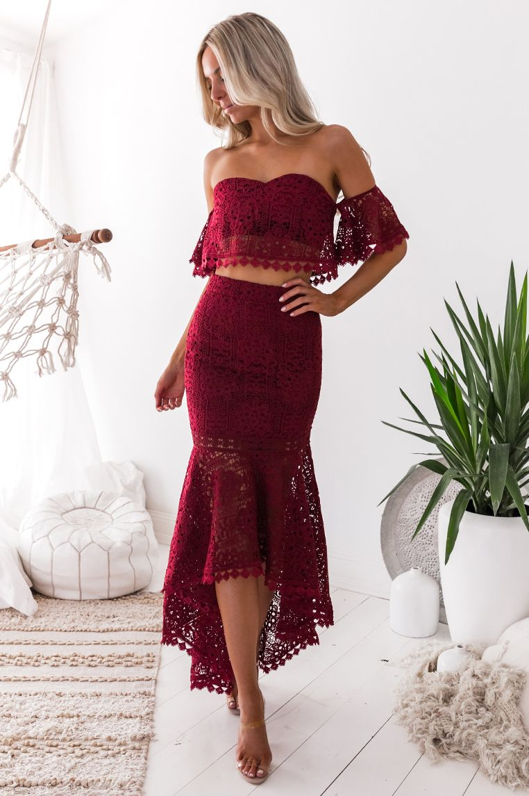 17cf84534e2 Toga Lace Set - Burgundy Party season is in full swing and this cute AF two  piece will get you to any event in style.