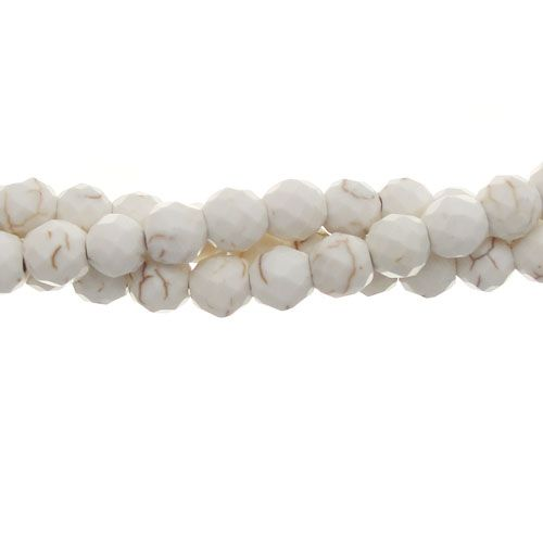 6mm White Howlite Faceted Round Bead Strand | Aunties Beads