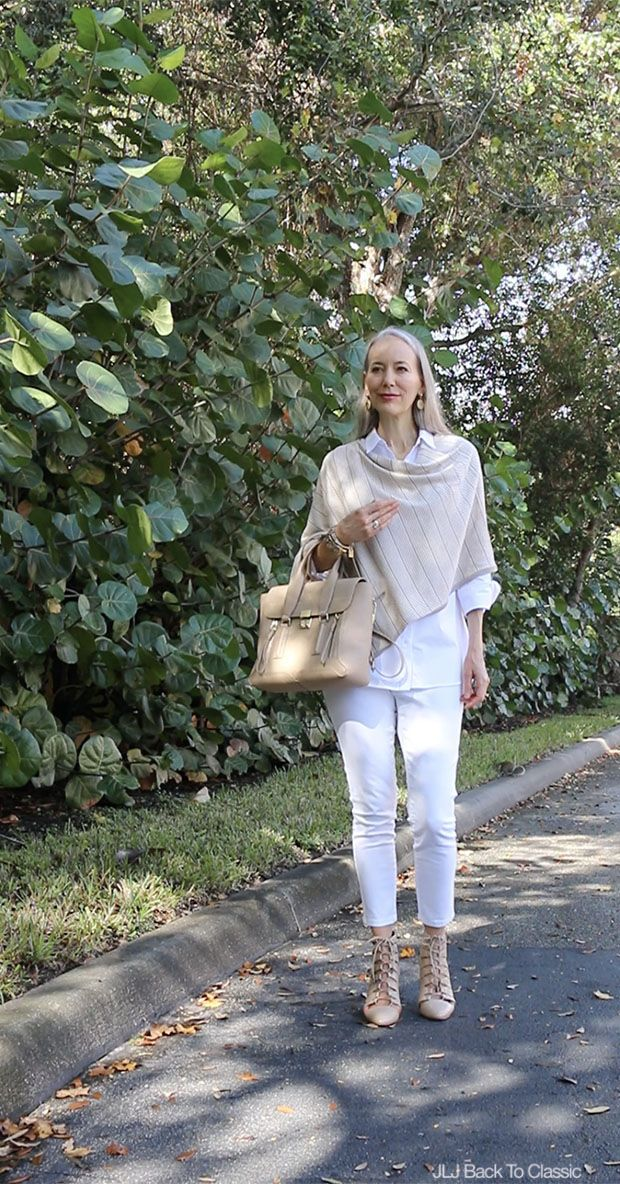 Photo of (Video Chat & OOTD) Classic Fashion Over 40/50: Two New Makeup Products, Plus My Taupe Poncho and White Skinny Jeans Outfit With a Phillip Lim Pashli Satchel