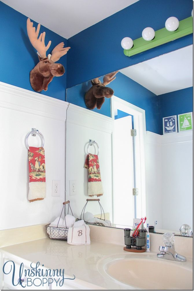 rustic boys bathroom makeover that stuffed moose head so cute rh pinterest ca Nautical Boys Bathroom Nautical Boys Bathroom