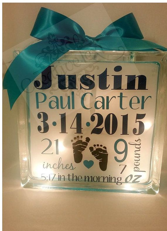 Personalized baby annoucement keepsake glass block cube for Glass blocks for crafts lowes