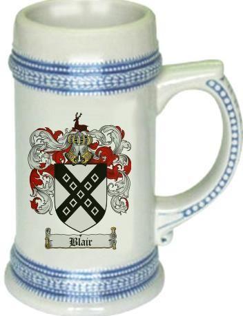 Blair Coat of Arms / Family Crest tankard stein mug