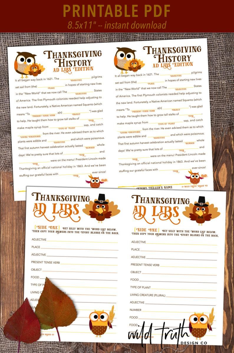 Thanksgiving Mad Libs  Dinner Table Game  School Party Game | Etsy