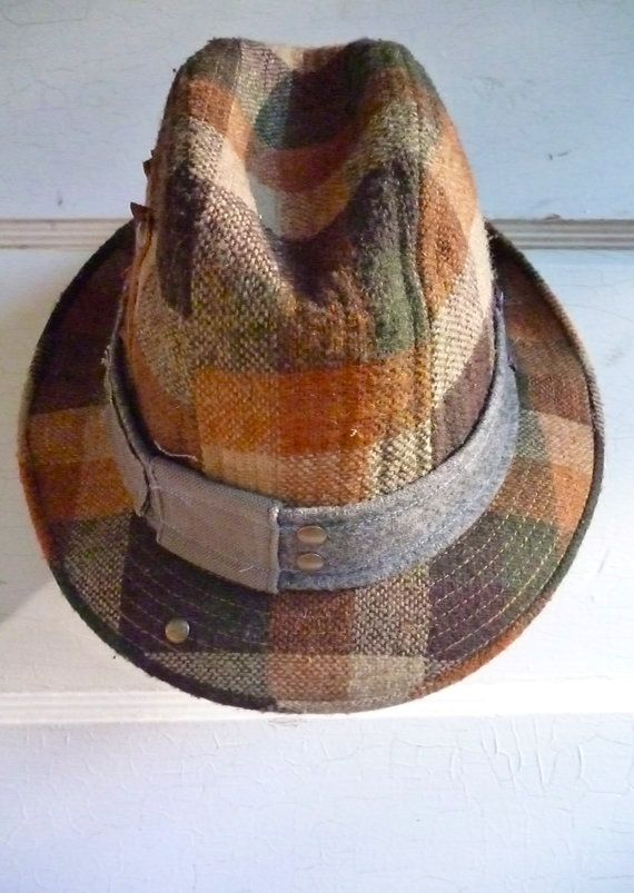 6034a4785498b6 Fedora Upcycled Adult Hat Vintage Freaky Fedora by HotelEtica, $55.00