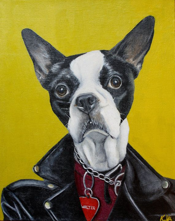Custom Pet Acrylic Paint Portraits by kvanbuskyART on Etsy, $100.00  #pet portraits #custom pet portrait # animals #paintings #boston terrier #dogs #etsy