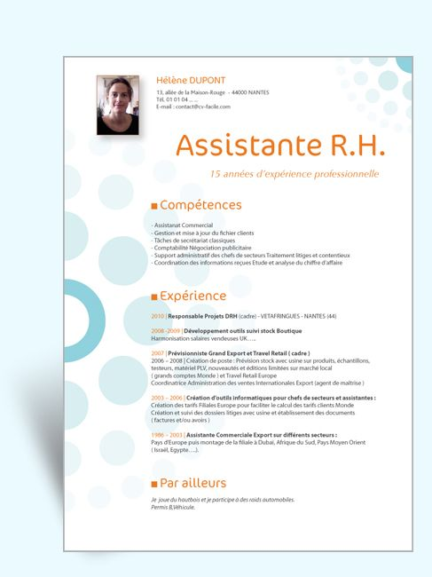 assistante de direction resume pour cv