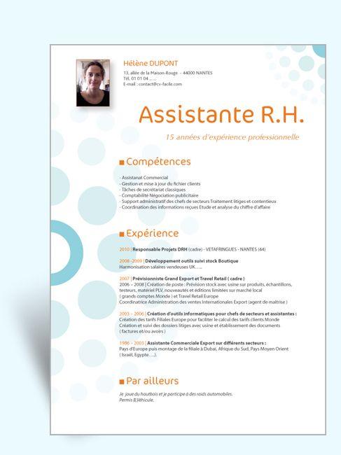 model cv assistante rh