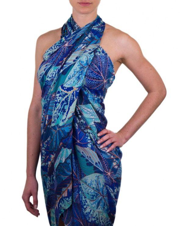 Paréo en coton soie modèle BALI leaves blue, paréo femme imprimé feuilles, foulard  bleu XL, paréo plage, Etyo. 59a158792d8