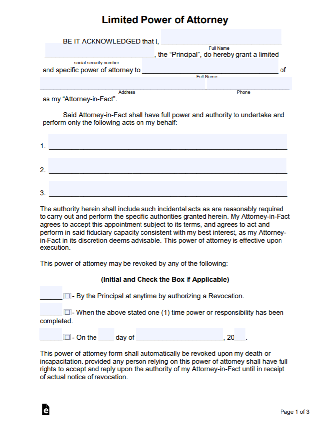 Pin by Calendar on Templates in 7   Power of attorney ...