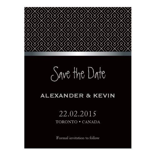 Two GroomsGay Black Pattern Wedding  Postcard  Gay Wedding