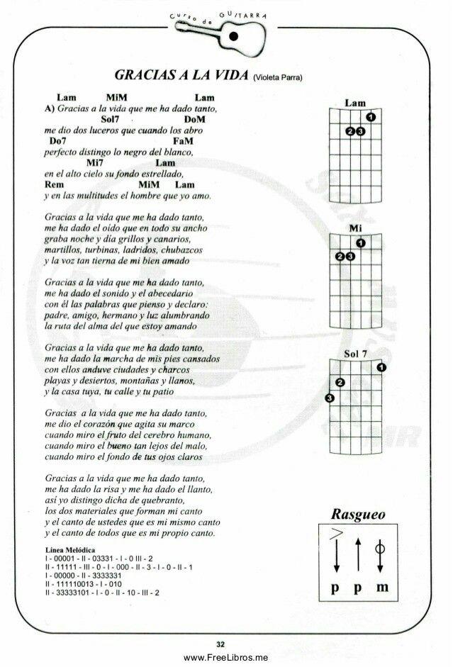 Gracias A La Vida Acordes De Guitarra Guitarras Letras Y Acordes