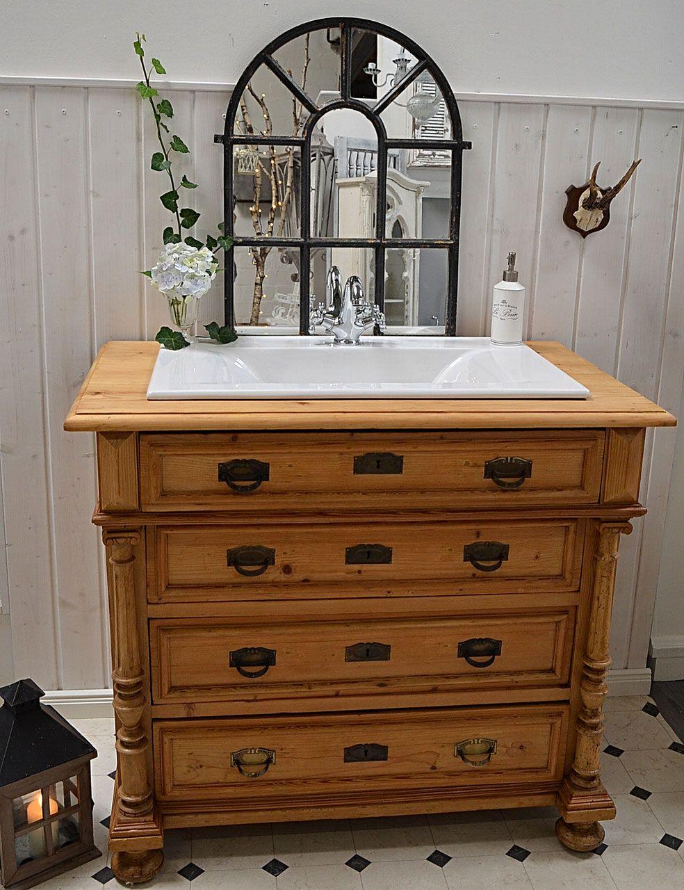 Waschtisch antik gebraucht  Naturholzkommode als Waschtisch hoch wasserabweisend versiegelt ...