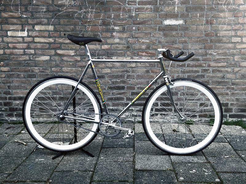 0a85e5a105a Full chrome Chinetti with Shimano 600 Arabesque parts and San Marco Concor  Supercorsa seat. #fixie #bike