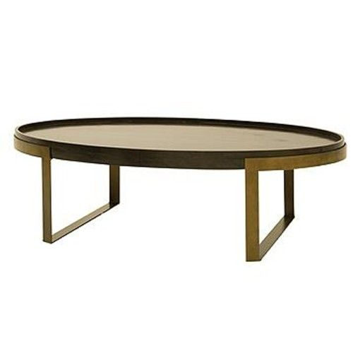 Superior SDI6 Madison Contemporary Oval Coffee Table With Antique Brass Metal Base