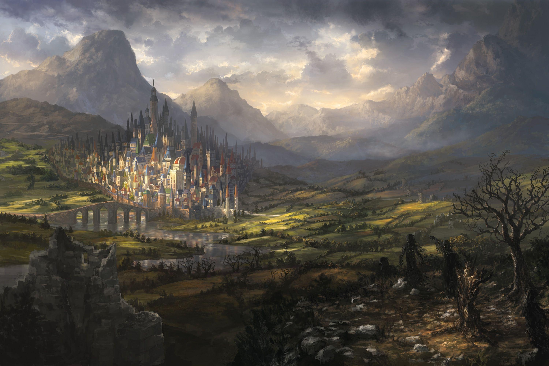 Fantasy Landscape Castle City Darkness Clouds Mountains Bridge Fantasy Landscape Landscape Concept Fantasy