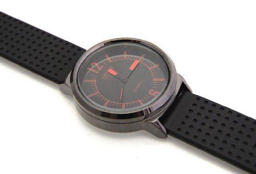 Amber Time Schwarze Herren Armbanduhr Rote Indizes Schwarzes Zifferblatt - http://uhr.haus/amber-time-3/amber-time-schwarze-herren-armbanduhr-rote