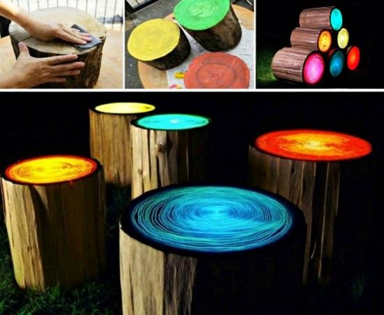 How To Make Glowing Tree Stump Stools Tree Stump Wood