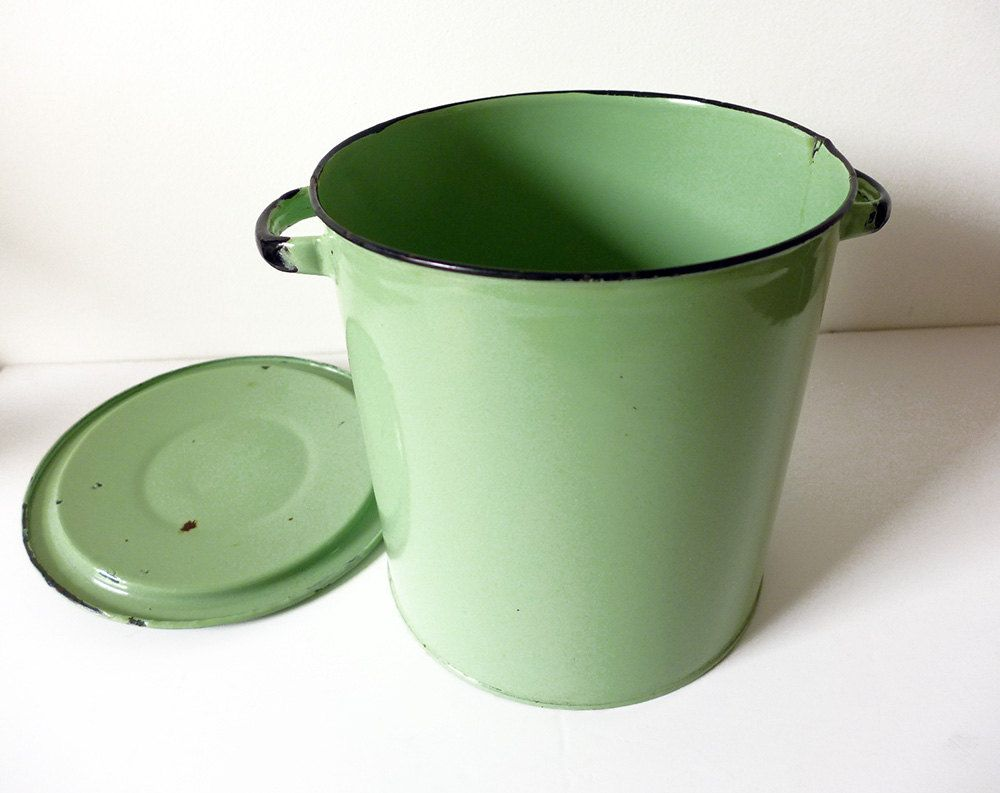 Vintage English Storage Container Bucket 1940 Enamelware