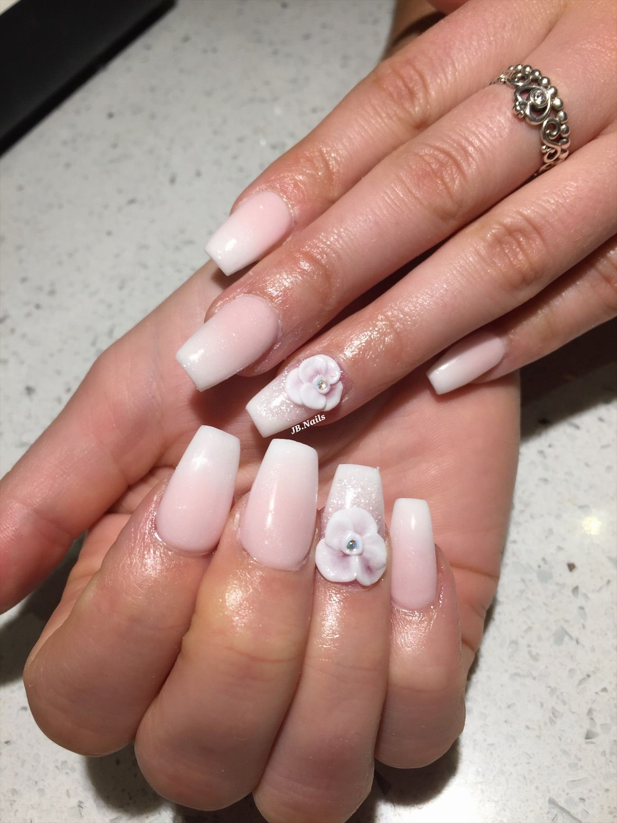 Ombre 3d Flower Pink Ombre Nails Coffin Nails Ombre Classy Nails