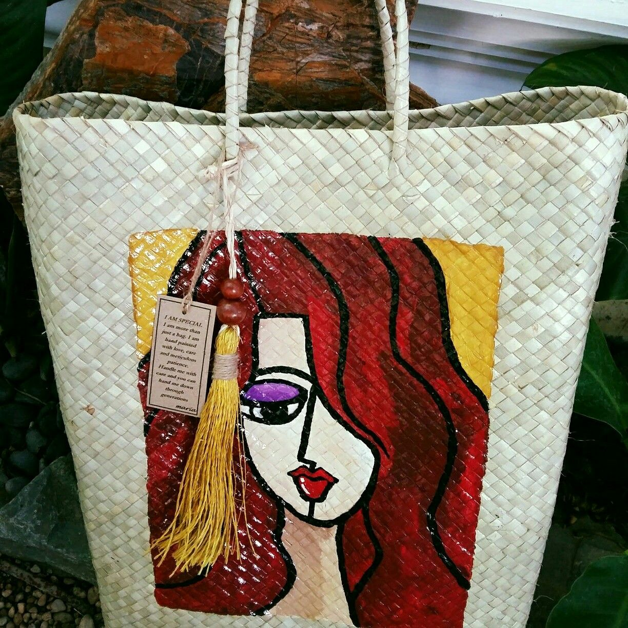 34f40b1d13fd Hand Painted Bayong Bag in Acrylic by MARIA Home made tassel in abaca  string with wooden Boho Beads