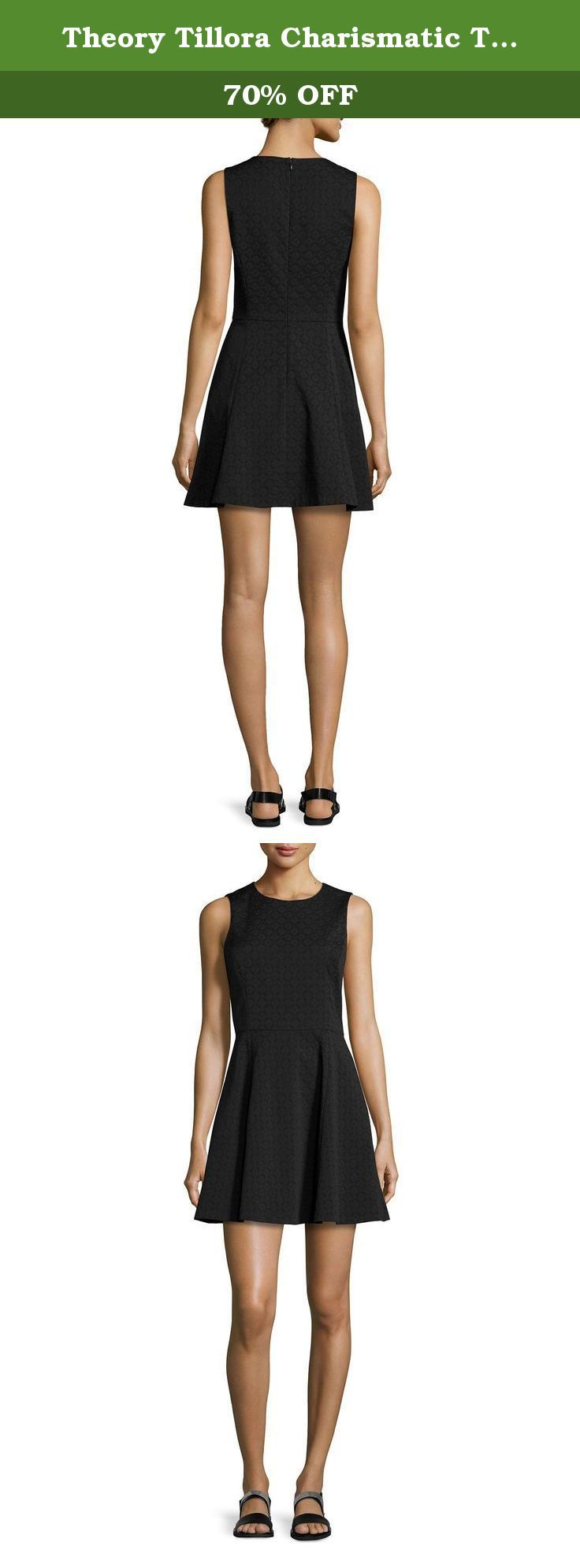 """Theory Tillora Charismatic Textured Fit-and-Flare Dress, Black, Size 4. Theory """"Tillora"""" dress in textured Charismatic fabric. Round neckline. Sleeveless. Seam at natural waist. Pleated, full skirt. Center back zip. Nylon/wool/spandex. Made in USA of Italian material. UPC 821117670890."""
