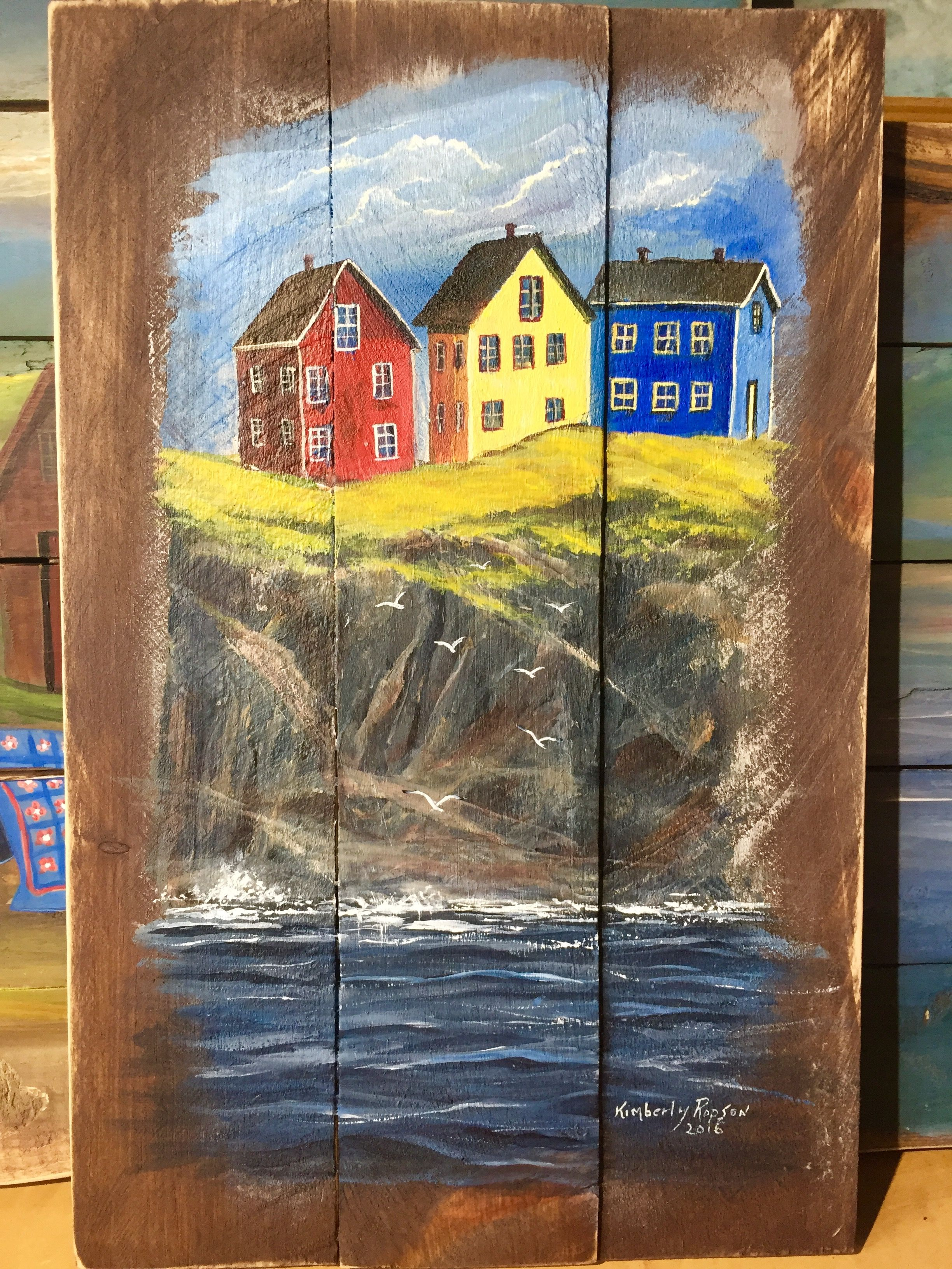 Newfoundland Cliff Hangers Acrylic On Reclaimed Wood Kimberly