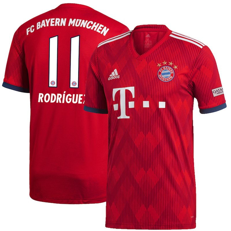 8fe124ef8 James Rodriguez Bayern Munich adidas 2018/19 Home Authentic Player Jersey –  Red