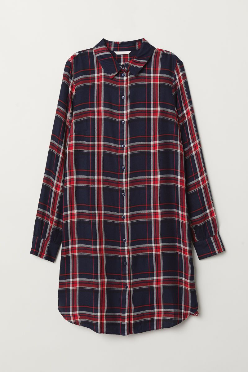 4a19a98f2173 Checked shirt dress | Dark blue/Checked | LADIES | H&M RS | Fashion ...
