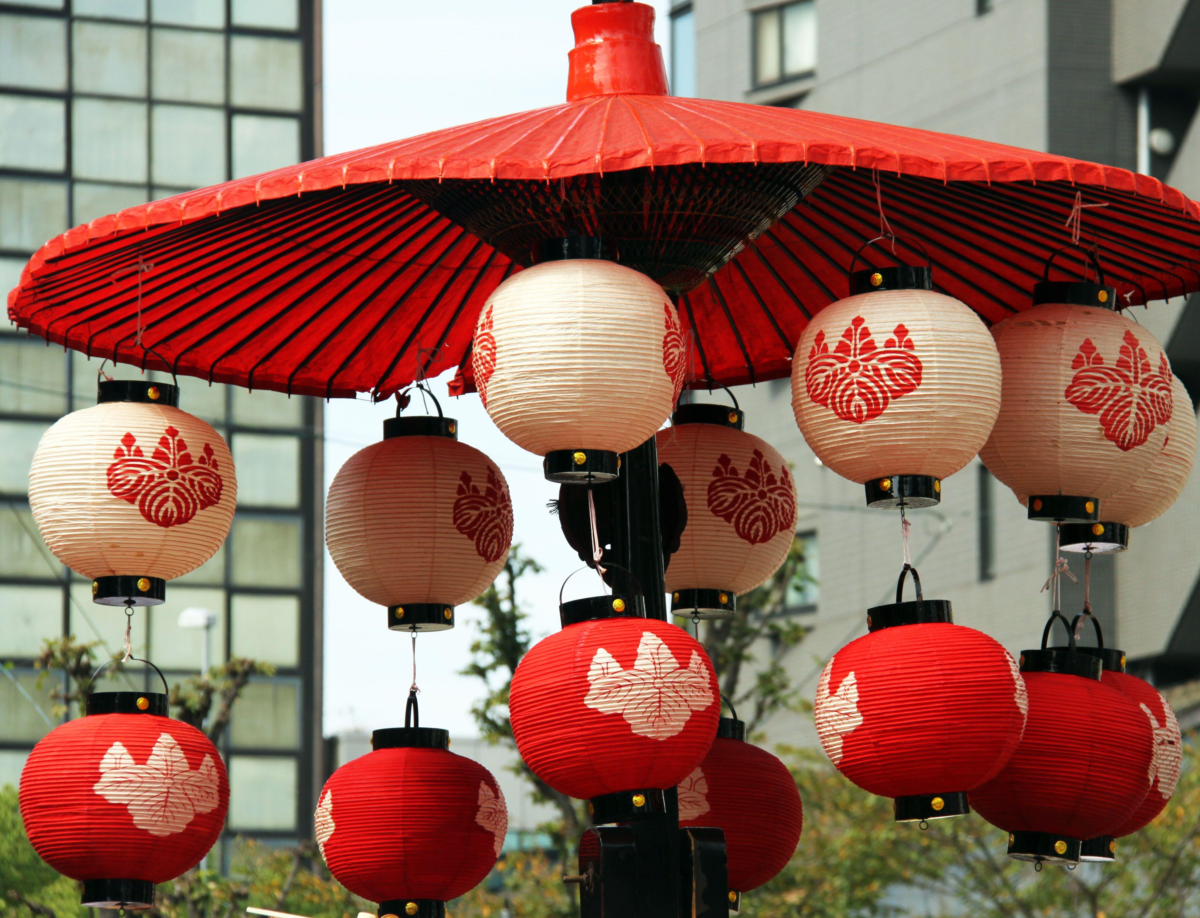 Japanese Lanterns Around The City Of Nagoya