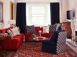 Red Couch With Rug Google Search Blue Sofa Decor Living Room Sofa Design Red Sofa