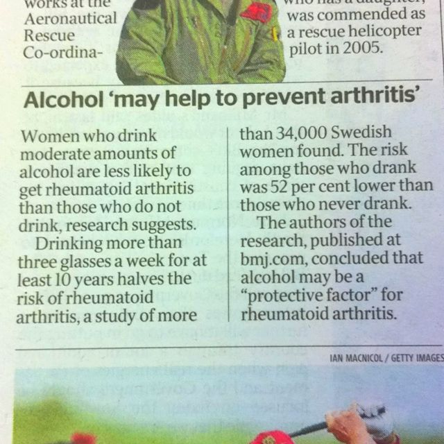 The Times 11/7/12 - Ladies, you just knew that there was a good reason for a glass of wine.