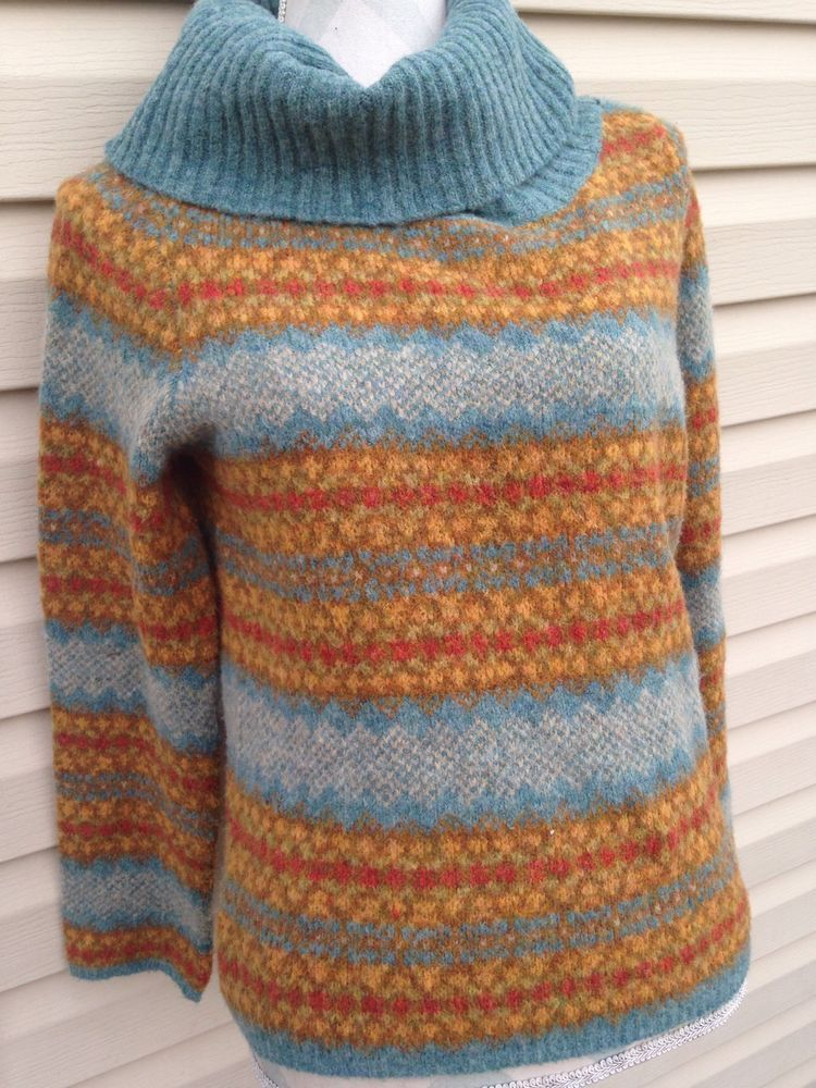 Anthropologie HWR Wool Blend Turtleneck Fair Isle Ski Sweater Size ...