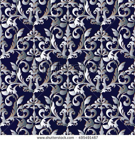 elegant baroque damask dark blue floral vector seamless