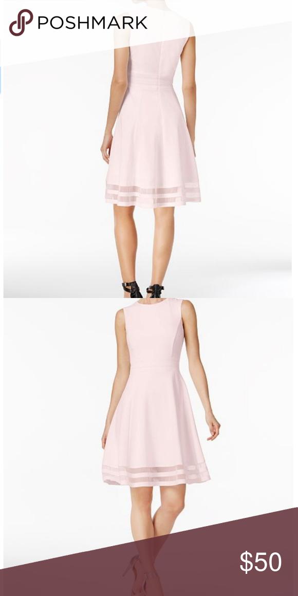 1a7539d58fb (NWOT)Calvin Klein Illusion-Trim Fit  amp  Flare Dress Calvin Klein Illusion