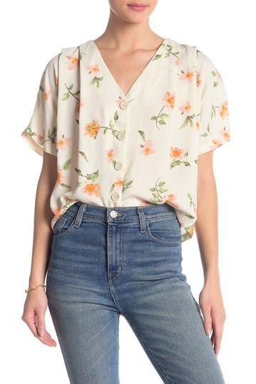 Elodie | V-Neck Button Blouse #nordstromrack
