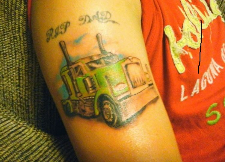 Colorful Semi Truck 18 Wheeler Truck Memorial Tattoo Artist