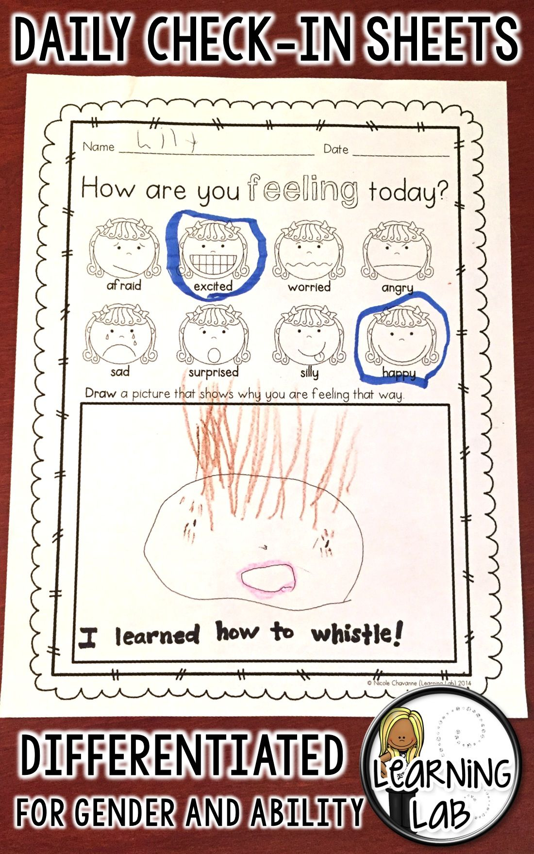 Daily Check In Sheet Help Students Explore Their Feelings