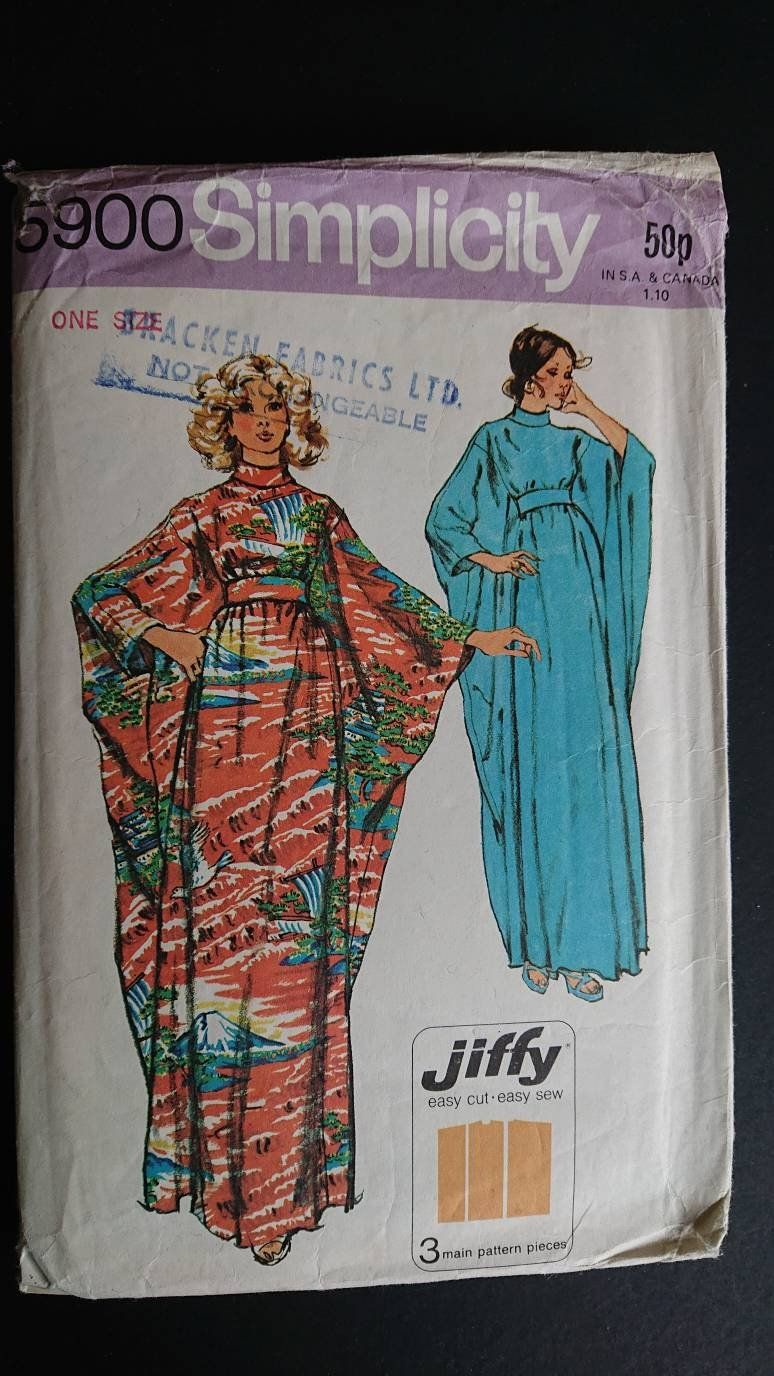 c59b5b13fc Vintage Robe or CAFTAN Simplicity 5900- CUT - pool or beach glamour- wear  it at home think knits challis broadcloth lawn or cotton sateen by  StarletPatterns ...