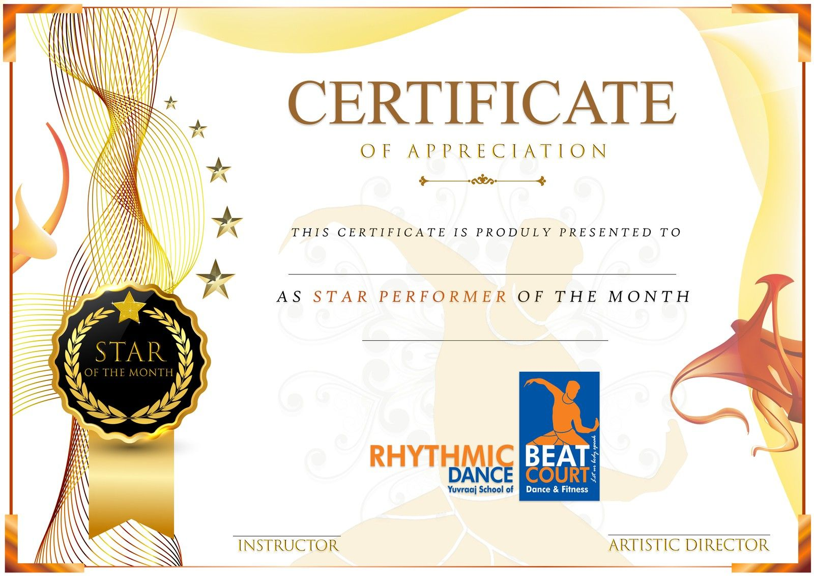 Performer Of The Month Certificate Calep Midnightpig Co In Star Performer Certificate Certificate Templates Professional Templates Gift Certificate Template Film festival award certificate template