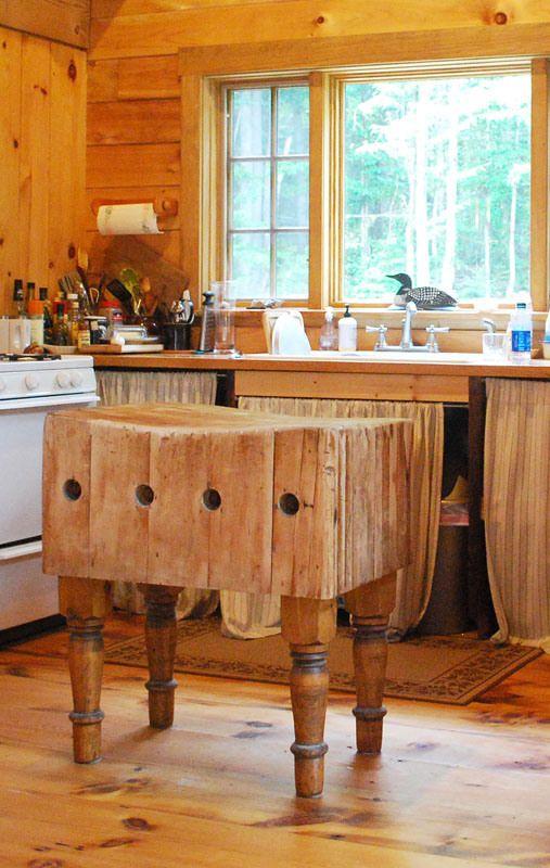 butcher block island | antique kitchen island, log home