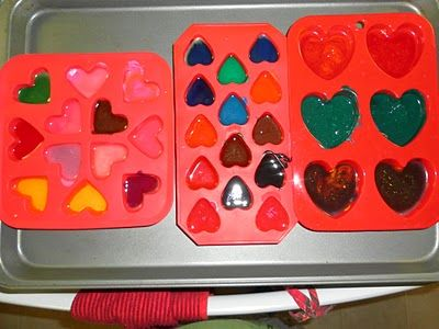 Making Valentine Heart Crayons