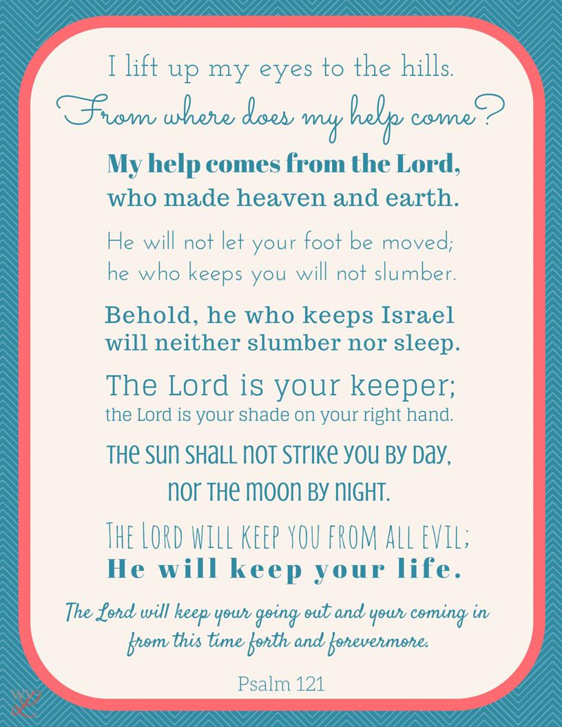 Versiculos De La Biblia De Animo: Psalm 121 Scripture Printable