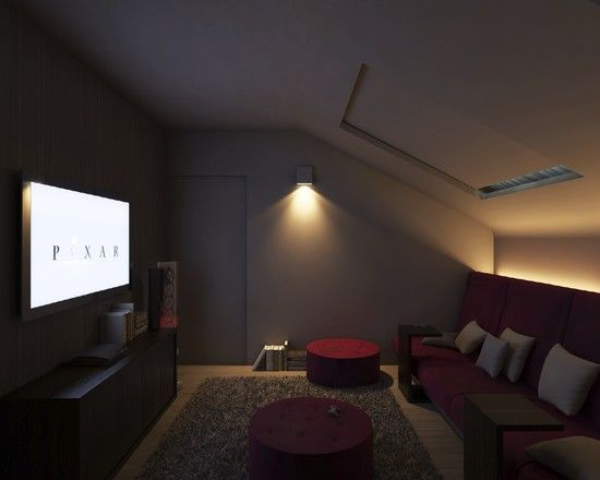 Lights Behind The Couch With Images Attic Renovation Attic Flooring Attic Rooms