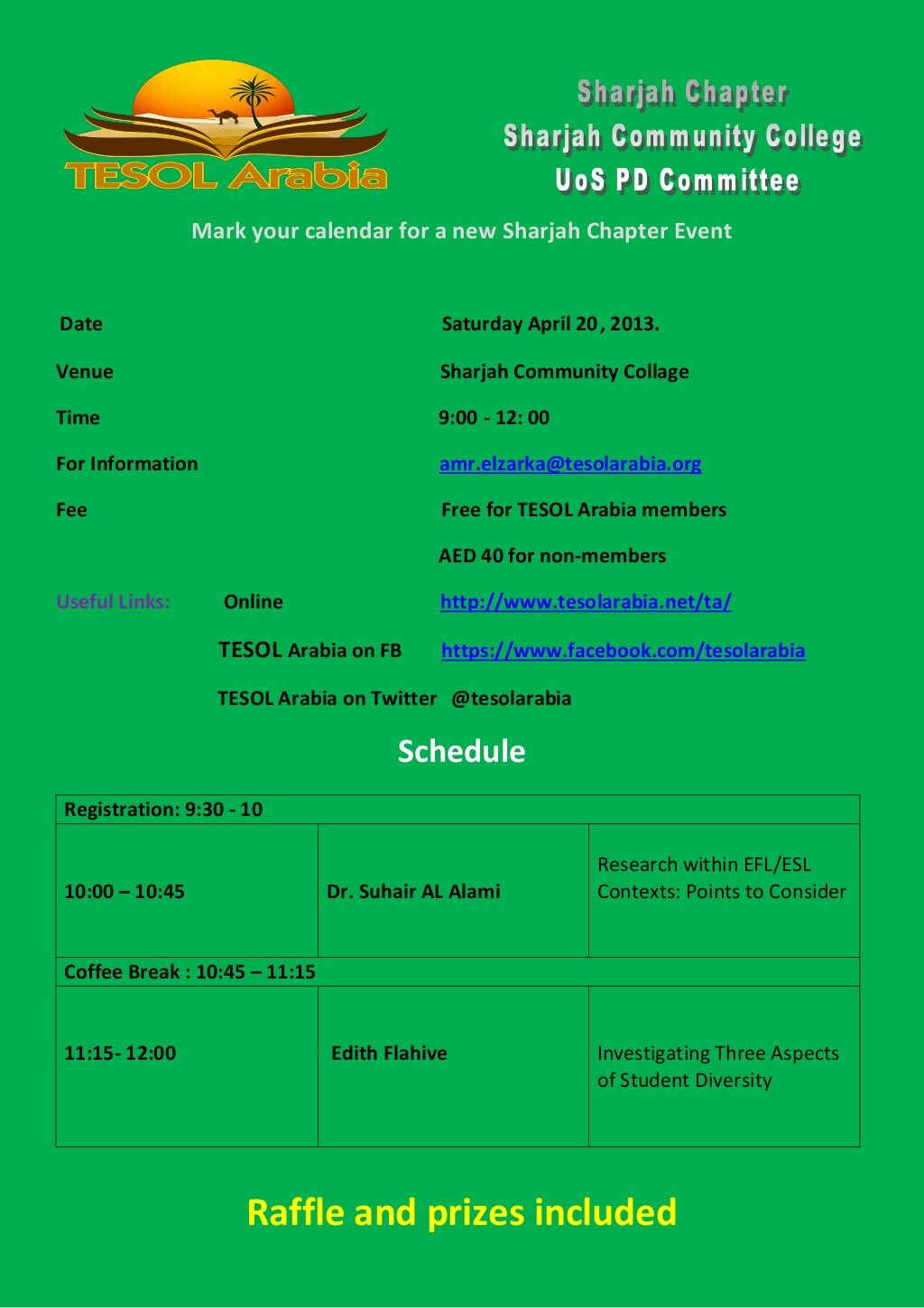 TESOL Arabia Sharjah Chapter Event April 20th 9am at The University of Sharjah Community College Campus