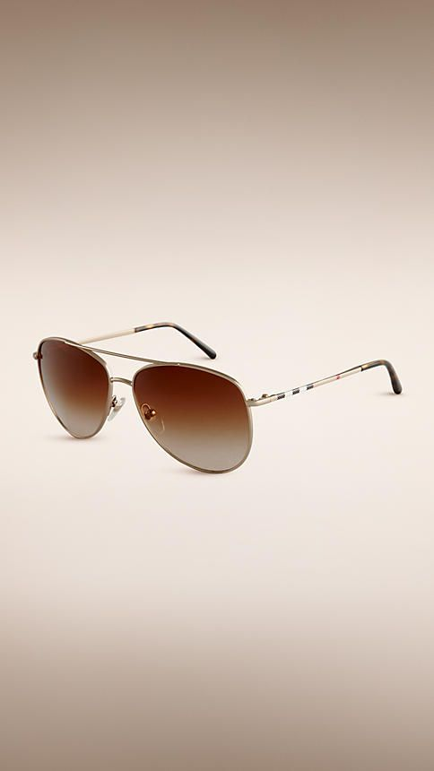 Pale gold aviator sunglasses style pins checks Burberry | Menswear ...