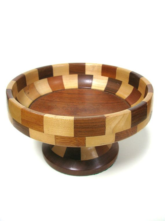 Chequered Fruit Bowl - Chequered Wood - Block Wood Bowl ...