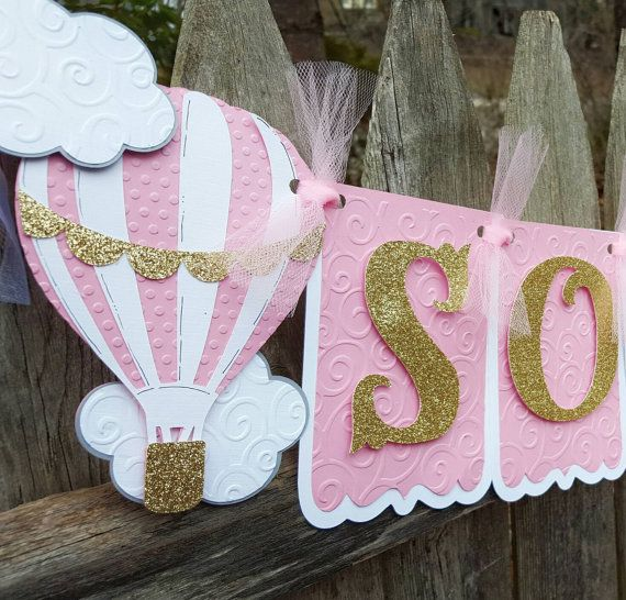 Hot Air Balloon Banner Pink And Gold Birthday Mint