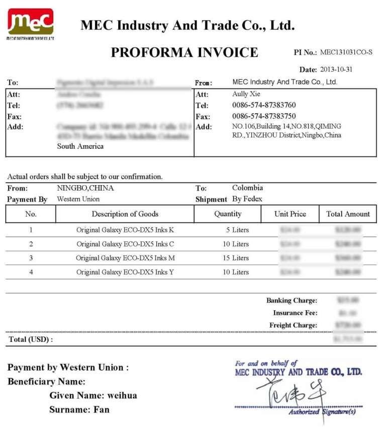 Ups Proforma Invoice Mec131031co S Original Galaxy Dx5 Eco Inks To Colombia Allsign 1000 X 1131 Invoice Temp Invoice Template Invoice Template Word Templates